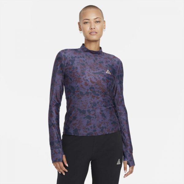 Nike Dri-FIT ADV 'Crater Lookout' Women's Cropped All-Over Print Top - Purple