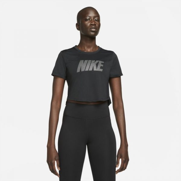Nike Dri-FIT One Women's Standard Fit Short-Sleeve Graphic Cropped Top - Black